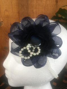 Navy flower fascinator by DaintylaceDesign on Etsy