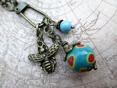 Blue Bead Necklace Hand Beaded Jewelry Retro by LittleBitsOFaith, $27.00