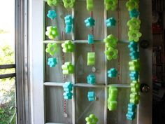 Party Curtian from Flower Shaped Pool Noodles.  Nice for photo backdrop.
