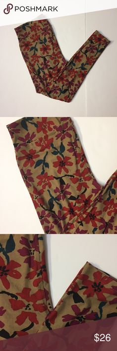 LulaRoe tall and curvy warm Floral Print like new Only worn once. No flaws. Size tall and curvy. Buttery soft as always. LuLaRoe Pants Leggings
