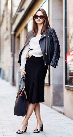 Pair you basic white blouse with a quilted motorcycle jacket, pencil skirt and comfy mules! This look is perfect for the office and can easily transition to happy hour! Are you loving the leather trend this fall and winter? Where would you rock this style?
