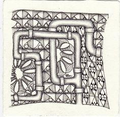 Ein Zentangle aus den Mustern Lookies, Pipes, Stit, Test Pattern gezeichnet von Ela Rieger, CZT