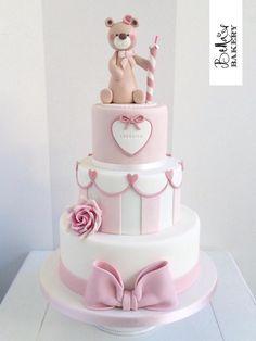 One Year Birthday Cake, 1st Birthday Cake For Girls, Baby Birthday, Fondant Cakes, Cupcake Cakes, Dummy Cake, Torta Baby Shower, Teddy Bear Cakes, Bolo Cake