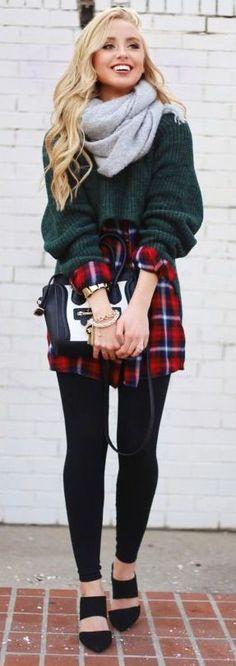 #winter #fashion / knit + plaid