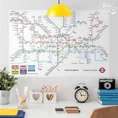 Vinilos Decorativos: Póster adhesivo Mapa del metro de Londres #poster #pared #vinilo #metro #tube #londres #esquema #mapa #TeleAdhesivo Big Ben, Mayor Of London, London Transport, Maps, Ideas, Map Of London Underground, Adhesive, Vinyls, Colors