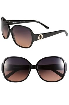 315cdd11fc Tory Burch 59mm  Disco Logo  Rounded Sunglasses available at  Nordstrom  Discount Sunglasses