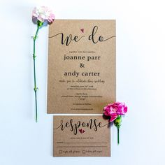 A simple, no fuss design. Printed onto high quality kraft brown card this design is fully customisable to include your own names, choice of words and dates etc. Bespoke Wedding Invitations, Floral Wedding Invitations, Wedding Stationery, Stationery Design, Rustic Wedding, Dates, Reception, Place Card Holders, Printed