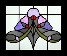 The Very Best Art Nouveau Beauty African Violets Stained Glass Window | eBay