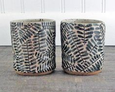 Stoneware Tumbler Pair   Black and White  Set of by LaPellaPottery, $38.00