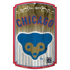 Chicago Cubs Cooperstown 11x17 Wood Sign: Cubby Bear Sign