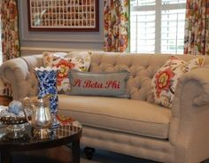 CR Laine's #1120 Chichester Sofa.  CR Laine items featured in Sorority House Makeover by Nell Hills.