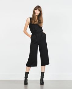 ZARA - WOMAN - CROPPED JUMPSUIT  Will look so cute with a ruffled blouse underneath