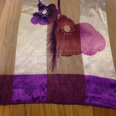 """Large scarf Purple border with purple and pink flowers. 37""""  by 37"""" great condition Accessories Scarves & Wraps"""