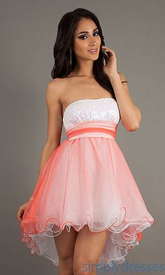 High Low Strapless Ombre Dress at SimplyDresses.com