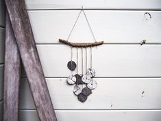 Ceramic wall hanging - Artisan wall hanging - Ceramic circles - interior decor - garden decor - one of a kind wallhanging - windchime Black Clay, White Clay, Stone Flooring, Handmade Ornaments, Little Gifts, Wind Chimes, Anniversary Gifts, House Warming, Interior Decorating