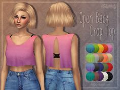 A comfy, loose crop top with open back. Comes in a lot of ombres and solid colours, too.  Found in TSR Category 'Sims 4 Female Everyday'