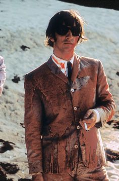 "Ringo Starr covered in paint after filming a scene for ""Help!"" in the Bahamas in 1965. (Henry Grossman)"