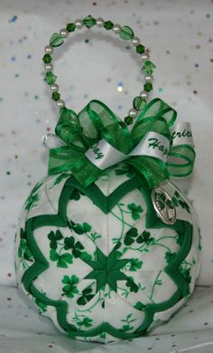 Quilted Ornaments Quilt Ball Ornaments St Patrick's by unclebuyme, $20.00