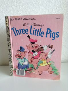 Vintage walt disney little golden book three little pigs adapted by