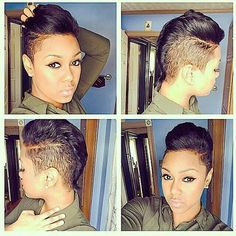 Dope mohawk cut ✂️So edgy and fierce Curly Hair Styles, Natural Hair Styles, Natural Mohawk, Mohawk Styles, Coiffure Hair, Sassy Hair, Shaved Sides, Cute Cuts, My Hairstyle
