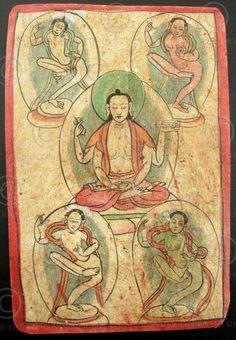 Carte de divination représentant des yoginis, sur papier épais. Pour plus de détails sur les tsakli lire cet article (en anglais) de asianart.com. Tibet. 19ème siècle.
