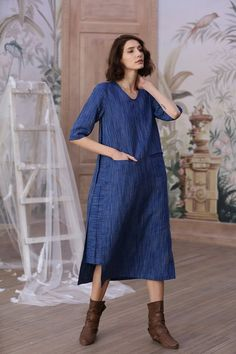eb37db6dcff linen tunic dress in blue 1. special V neck detail. smart casual style 2