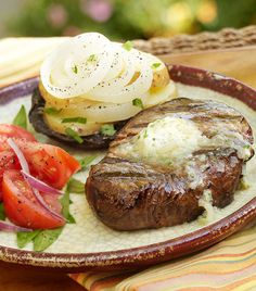 Grilled Filets with Whiskey Butter and Potato-Onion-Mushroom Stacks.... Oh my word, this looks good :-)