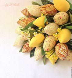 Купить Букет тюльпанов солнечный - желтый, букет, тюльпаны, тюльпаны из ткани, текстильные цветы