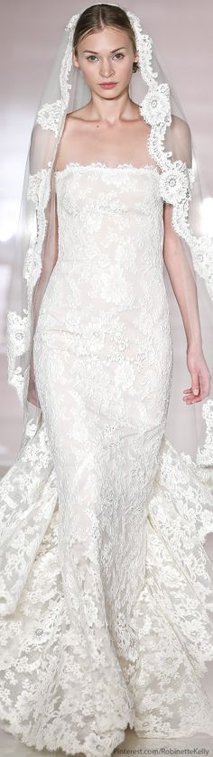 I love Reem Acra. This is such magnificent lace and a perfect veil to complement the look.  Reem Acra Bridal 2014