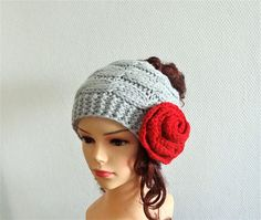 Messy Bun Hat  knit Messy Bun Beanie Winter Hat Girls Hat