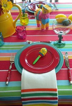 Cinco de Mayo. love the striped tablecloth