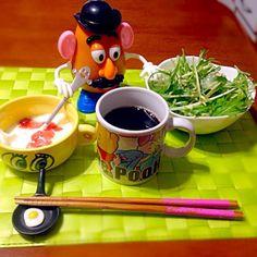 今朝の自宅モーニング☕️ - 63件のもぐもぐ - 水菜サラダ&ヨーグルト☕️ by manilalaki