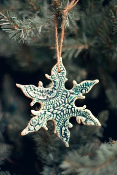 DIY Ceramic Lace Snowflake Ornaments