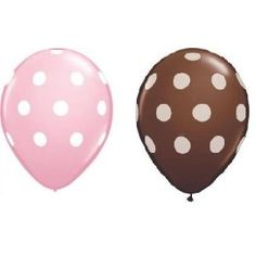 24ct Assorted Brown and Pale Pink Balloons with White Polka Dots  by Qualatex  5.0 out of 5 starsSee all reviews(1 customer review) | Like (0)  Price:$7.29