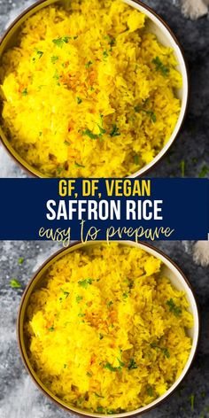 This simple saffron rice recipe is infused with saffron flavor and is the perfect elegant side dish that pairs well with Middle Eastern and Spanish flavors. Cook it on the stove top or in a rice cooker. #sweetpeasandsaffron #saffronrice #vegan #dairyfree #glutenfree #stovetop #ricecooker Tofu Recipes, Side Dish Recipes, Easy Dinner Recipes, Vegetarian Recipes, Side Dishes, Vegan Meal Prep, Lunch Meal Prep, Slow Cooker Freezer Meals, Slow Cooker Recipes