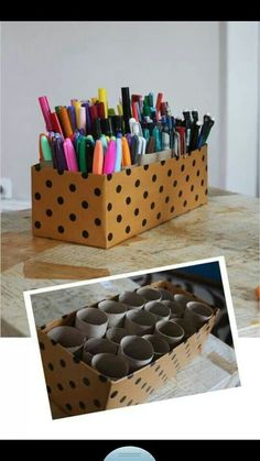 Craft Organizer old shoebox, & toilet paper rolls.......brilliant :-)