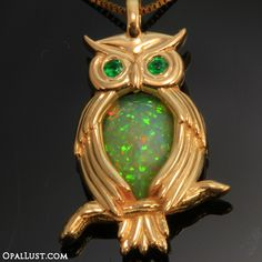 Welo Ethiopian Opal Owl Pendant With Emerald Eyes in Rose Gold!