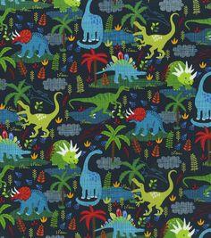 Novelty Cotton Fabric 44\u0027\u0027-Dinos on Navy