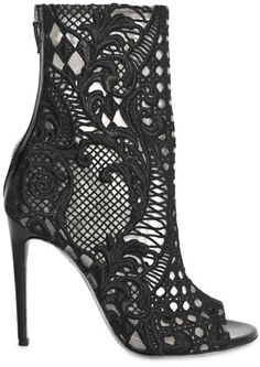 Balmain black Lace Boots booties open toe