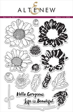 This floral stamp set is consists of 2-3 layering images allowing you to create in-depth daisies. With various styles of images, you can add fully open flowers or simple add flower buds to your projects. For more free-style feel, try using it without the outline images.