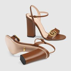 Shop the Leather Double G sandal by Gucci. An emblem of the GG Marmont line, the Double G is an arch Women's Shoes, Gucci Shoes, Cute Shoes, Me Too Shoes, Shoe Boots, Dance Shoes, Shoes Sneakers, Stylo Shoes, Fashion Heels
