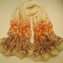 1PC Women Gradual Change Color Long Chiffon Wraps Shawl Soft Scarves
