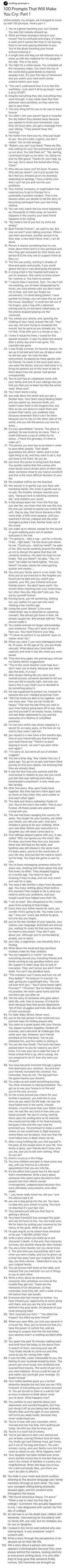 100 Prompts That Will Make You Cry