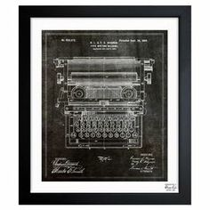 Framed art print with a typewriter blueprint motif. Made in the USA.   Product: Framed printConstruction Material: Fine art paper and woodColor: Black frameFeatures:  Made in the USAReady to hang  Cleaning and Care: Dust lightly with clean, lint-free cloth