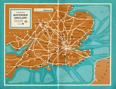 Mad for Mid-Century: Map of Southern England