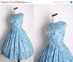 Vintage 1950s Blue Paisley Cocktail Dress / Dress / by aiseirigh, $86.40