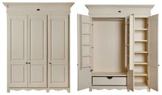 The 3 Door Wardrobe. These images show the wardrobe from the French Flair range. The interior of all the Wardrobes are interchangeable between the ranges. Bedroom Wardrobe, Wardrobe Closet, Free Standing Wardrobe, Airing Cupboard, Cupboard Wardrobe, Kitchen Pantry Design, Trendy Bedroom, Wardrobes, Decoration