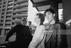 Bauhaus posed together at the Barbican Centre in London in June 1982. Left To Right: David J, Kevin Haskins, Daniel Ash, Peter Murphy.