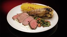 Peppered Beef with Texas Green Beans and BBQ Corn with Garlic Butter