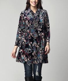 This Navy Floral Velvet Collared Pin-Tuck Ruffle Tunic - Plus is perfect! #zulilyfinds